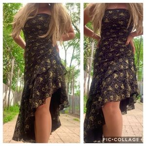 Vintage asymmetrical black and gold lace dres